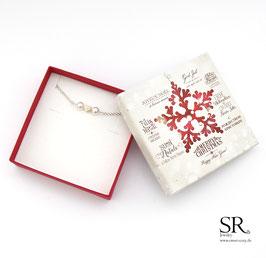 Armband Herzperle versilbert WUNSCHFARBE + Weihnachtsgeschenkbox