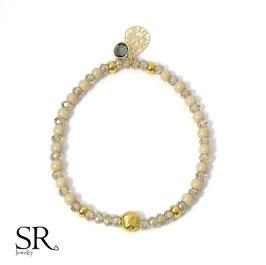 Glasperlen Armband vergoldet Buddha Kristallglas beige-anthrazit
