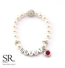 Armband Perlen Braut ivory Glitzerperle + Glitzerherz rot