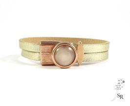Armband Schiebeverschluss Leder rosévergoldet rosé