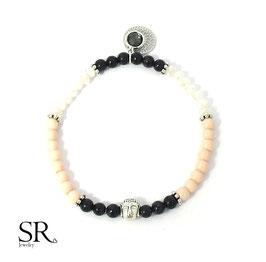 Glasperlen Armband versilbert schwarz-rosé Buddha