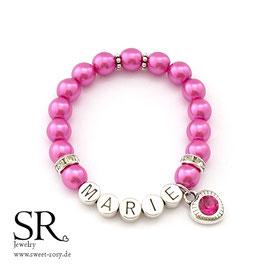 Namensarmband versilbert pink Glitzerherz pink