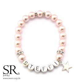 Namensarmband versilbert rosé Stern