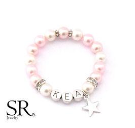 Namensarmband versilbert ivory-rosé-rosa Stern