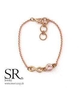 Armband Glaskristall + Infinity Zeichen rosévergoldet