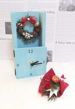 ドライフラワー時計クリスマスバージョン