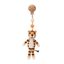 Kinderwagenclip Tiger - handgehäkelt