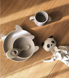 Liewood Vivi Silikon Baby Geschirr Set 4teilig - Rabbit sandy
