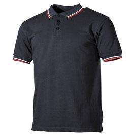 Poloshirt Schwarz mit rot/weißen Streifen