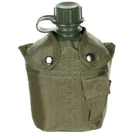 Plastikfeldflasche mit Hülle, 1 Liter