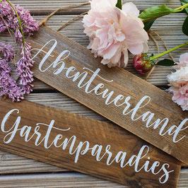 """Altholzschild """"Gartenparadies"""""""