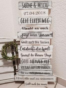 Hochzeitstafel - Geht euren Weg