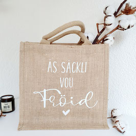 "Jute-Tasche ""Äs Säckli vou Fröid"""