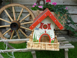 Vogelhaus Liebes-Laube  weiss/rot