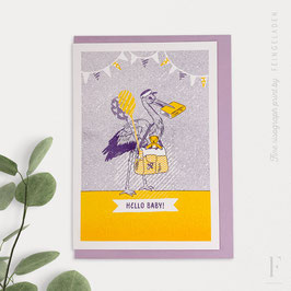 LOVELY BEASTS // Stork »Hello Baby« (Purple/Sunflower)