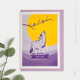 LOVELY BEASTS // Wolf »Miss you!« (Purple/Sunflower)