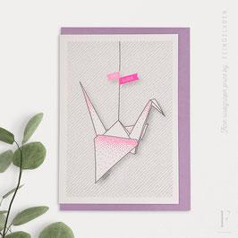 LIKE ORIGAMI // Crane »Viel Glück« (FluoPink/Grey)