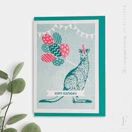 LOVELY BEASTS // Kangaroo »Hoppy Birthday!« (Teal/FluoRed)