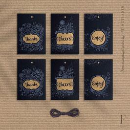 FLOWER LABELS // Set of 6 – GiftTag (Black Edition)