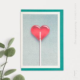 GOOD TIMES // Heart Lollipop (Teal/FluoRed)