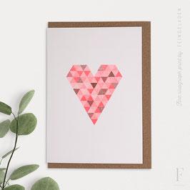 FLASHY TRIANGLES // Heart (Copper/FluoRed)