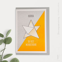LIKE ORIGAMI // Star »Hurra, du bist wunderbar« (Grey/Sunflower)