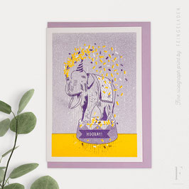 LOVELY BEASTS // Elephant »Hooray!« (Purple/Sunflower)