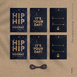 PARTY TIME // Set of 6 – GiftTag (Black Edition)