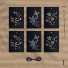 BOTANICA // Set of 6 (2x Forget-me-not, Hibiscus & Lily) – GiftTag (Black Edition)