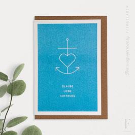 SIMPLY DIVINE // Anchor Symbol »Glaube Liebe Hoffnung« (Aqua)