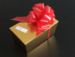 350g Belgische Trüffel-Pralinen in goldfarbigem Ballotin und roter Schleife