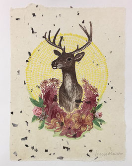 Stag with Wreath I