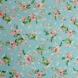 Dekostoff kleine Blüten auf blau 280cm breit