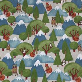 Winterwald und Tiere Dekostoff