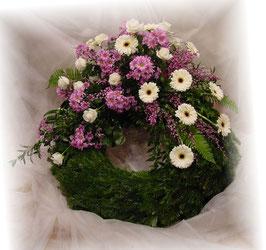 Trauerkranz, klassisch (Rosa und Weiß, #0204)
