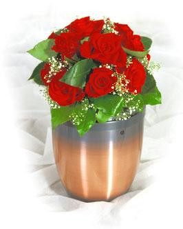 Urnenschmuck mit roten Rosen (#6002)