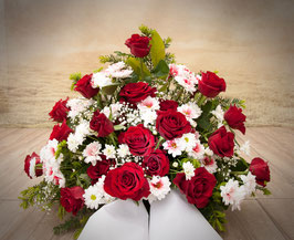 Trauergesteck, hoch gesteckt, Rot-Weiße Töne (#2003)
