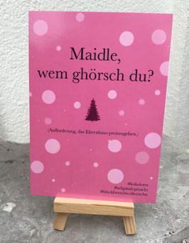 Postkarte Bläckforescht 05 - Maidle, wem ghörsch du?