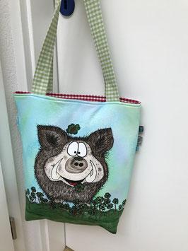 Tasche Glücksschwein grün/rot