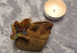 Holz mit Schmetterling bunt