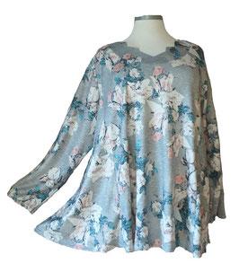 Schillernder Pullover mit Zackenausschnitt Flower Light-ColorArt-Design Eisblau Grau Rosa (L59)
