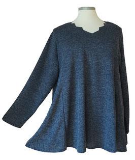 Pullover mit Zackenausschnitt Blau-Melange mit Funkelchen-Highlights (L62)