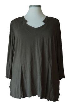 Shirt mit Kellerfalten und Designer-V-Ausschnitt  Dunkel Oliv (SPS-884)