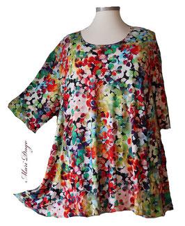 SunShine Shirt in A-Linie - Kleine bunte Blätter - (Vis-03-20-18)