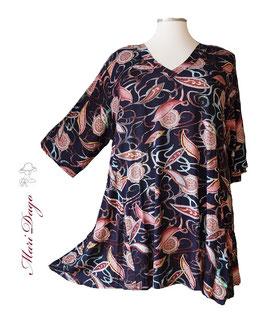 SunShine Shirt in A-Linie mit V-Ausschnitt Paisley Ornamente (V-Vis-0320-12)
