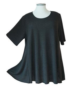 Feinstrick SunShine Shirt in A-Linie Overlook Lochpünktchen Schwarz (FS-149)