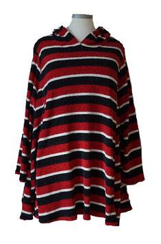 Flauschiger Chenille Pullover in A-Linie mit Kapuze und Lurex Rot Schwarz Weiß (P-KP-4195)