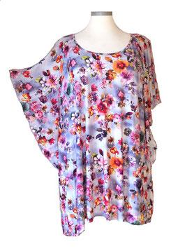 Longshirt mit Flügelarm Violet Blue Pink Flower (SFS-679)