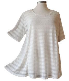 T-Shirt *Seidenweich & Leicht * A-Linie  ( Gestreift Weiß ) T02
