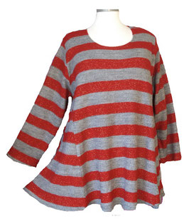 Pullover in 6-Bahnen A-Linie Grau Rot Gold (P-660)